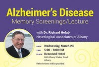 Dr. Holub will be speaking at the Alzheimer's Disease – Memory Screening Lecture 3/23/2016